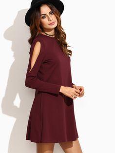 Burgundy Open Shoulder Swing Dress