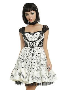 The Nightmare Before Christmas Jack Embroidery Dress, WHITE