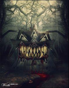 Photoshop Submission for 'Om Nom Nom Nom Contest Dark Gothic, Gothic Art, Halloween Pictures, Halloween Art, Happy Halloween, Samhain, Dark Fantasy, Fantasy Art, Monster House