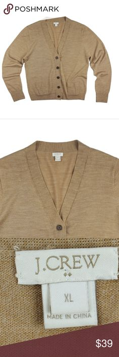 """JCREW Camel Merino Wool V-Neck Cardigan Sweater Size - XL  This heather camel cardigan sweater from JCREW is in excellent condition. It features button closures and front pockets. Light weight. Made of 100% Merino wool.  Measures:  Bust 42"""" Total Length: 24"""" Sleeves: 26"""" J. Crew Sweaters Cardigans"""