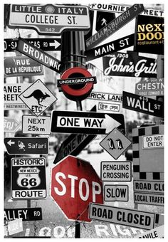 Street Signs Mural (P112701-4) - Mr Perswall Wallpapers - A fun photo montage of road signs, with some quirky additions.  Available in 3 colours – shown in the black and white with red highlights. Total mural size 180 cm wide and 265 cm high. SAMPLES NOT AVAILABLE.