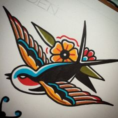 colored bird old school tattoo traditional