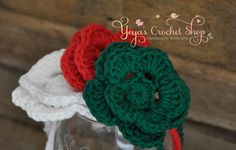 Christmas Set of 3 Crochet Flower Headbands, Baby Accessories, Newborn Size, infant, toddler, girl on Etsy, $12.00