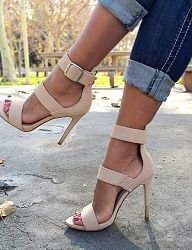 Super stylish strappy single sole heels, featuring an animal print and a barely there stiletto heel with multiple straps. Stilettos, High Heel Pumps, Pumps Heels, Stiletto Heels, Strappy Heels, Nude Pumps, Women's Shoes Sandals, Hot Shoes, Crazy Shoes