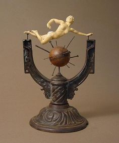 James Michael Starr - All Along The Way, 2006 17-1/2 x 11-1/2 x 9-1/2 inches Cast iron lamp base, cast figurine, croquet ball, miscellaneous hardware