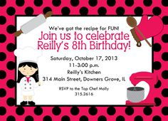 Top Chef Girl Cooking Party Invitation Printable by cardsbycarolyn, $8.00