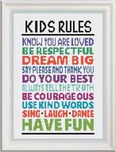 Kids Rules Cross Stitch Pattern, Modern Cross Stitch Chart, Kids House Rules…