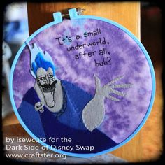 Hades from Disney's Hercules Applique Hoop Art by isewcute - NEEDLEWORK  - Holiday crafts, Knitting, sewing, crochet, tutorials, children crafts, jewelry, needlework, swaps, papercrafts, cooking and so much more on Craftster.org