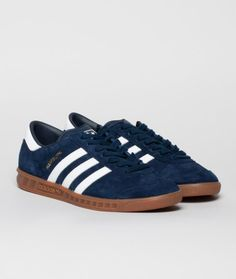 First released in 1982, the Hamburg from adidas Originals is back for Spring 2014. Featuring a premium suede upper with leather 3-stripes and heel tab. Finished off with  the classic t-toe, gold Hamburg detailing on the side wall and a translucent gum rubber outsole.