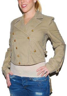 Ralph Lauren Womens Military General GI Pea Coat Jacket Khaki Brown Medium