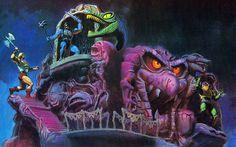 Snake Mountain toy box art - Masters Of The Universe Dark Fantasy, Fantasy Art, Nicky Larson, 1920x1200 Wallpaper, Cartoon Toys, She Ra Princess Of Power, Sword And Sorcery, Universe Art, Retro Toys