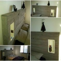 My Pallet Headboard With Lights & Electric Outlet