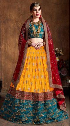 This Yellow Banarasi Silk Lehenga Choli has embroidery patch work. Zari, Sequins And Dori Embroidery can be customized up to size 42 only. Soft net dupatta comes with lehenga choli. Lehenga Choli Online, Lehenga Blouse, Bridal Lehenga Choli, Indian Lehenga, Silk Lehenga, Lehenga Skirt, Saree, Yellow Lehenga, Indian Bridesmaids