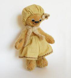 Aged teddy bear girl in beret. by NPTeddyBear on Etsy Bear Girl, Berets, Sally, Teddy Bear, Toys, Handmade Gifts, Artist, Pattern, Animals