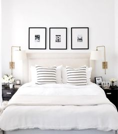 A short break from Christmas themed posts to design crush on this all white bedroom by proving that white is anything but boring! - Architecture and Home Decor - Bedroom - Bathroom - Kitchen And Living Room Interior Design Decorating Ideas - Home Interior, Interior Design, Interior Office, Interior Plants, Modern Interior, White Duvet, Black White Bedding, White Linens, Black Pillows