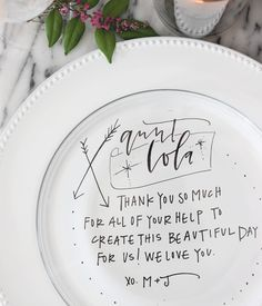 DIY Hand Lettered Charger Plate Tutorial by A Fabulous Fete for Oh So Beautiful Paper