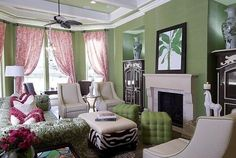Designer Shelly Riehl David featured Manilla Hemp 3428 Kelly Green wallcovering in this color infused Great Room.