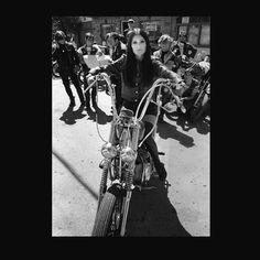 Vintage Photo Of A Retro Chopper And A Girl