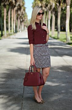 burgundy hue with a neutral printed skirt & flats