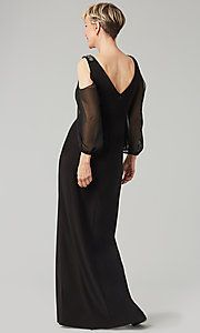 Image of long-sleeve long black MOB dress by Alex Evenings. Style: Back Image Mob Dresses, Girls Dresses, Flower Girl Dresses, Bridesmaid Dresses, Dresses With Sleeves, Formal Dance, Bride Groom Dress, Alex Evenings, Black Evening Dresses
