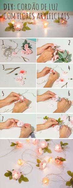 DIY: um passo a passo para fazer um cordão de luz com flores artificiais Diy Flowers, Paper Flowers, Diy Deco Rangement, Fleurs Diy, Artificial Flowers, Diy Art, Diy Room Decor, Diy Wedding, Pizza Wedding