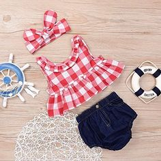Baby Girls Plaid Ruffle Bowknot Tank Top+Denim Shorts Outfit with Headband Red)Perfect for a barn photoshoot. I got months for my one year old baby who fits into 24 month clothes. It was actually kinda loose- the shoulder strap kept on falling off. Trendy Baby Girl Clothes, Baby Girl Dresses, Baby Dress, Baby Boy Outfits, Kids Outfits, Newborn Outfits, Summer Outfits, Cute Newborn Baby Boy, Baby Girls