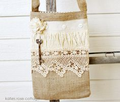 Burlap Tote with Ticking Lining