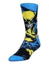 Blue Marvel Comics Wolverine Crew Socks (Unisex)