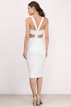 Got My Attention White Midi Dress