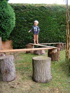 Gross motor fun on a 'plank path'- I want to do things like this in our back yard!