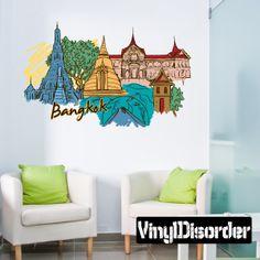 Famous City Bangkok Wall Decal - Vinyl Car Sticker - 2