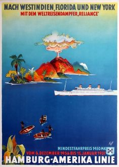 HAPAG West India Florida New York Cruise Ship, 1936 - original vintage poster by Albert Fuss listed on AntikBar.co.uk