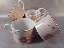 Waverly Flat Cup Coffee Tea Norfolk Rose Set of 4 Kitchen Dining Spring Floral