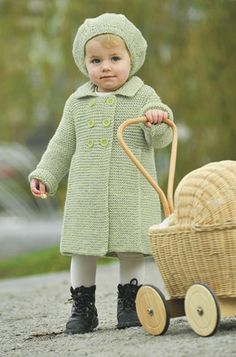 Knitting Patterns Coat Light green, knitted coat for little girl DANISH Light green, knitted coat for the little girl Knitting For Kids, Crochet For Kids, Free Knitting, Baby Knitting, Knit Crochet, Crochet Jacket, Knit Jacket, Coat Patterns, Knitting Patterns