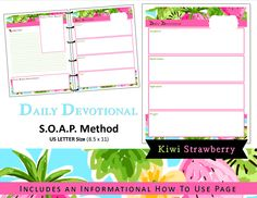 Lilly Inspired Printable Daily Devotional / Bible Study - S.O.A.P Method - US Letter - Tropical Kiwi Strawberry Pink Southern Preppy (5.00 USD) by myunclutteredlife