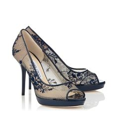Jimmy Choo 'Luna' Navy Lace and Patent Peep Toe Pumps