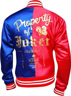 Harley Quinn Jacket in Red & Blue Satin Fabric at Amazon Women's Coats Shop