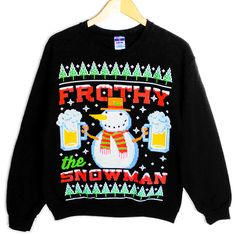 Frothy the Snowman Beer Mug Ugly Christmas Sweater Style Sweatshirt