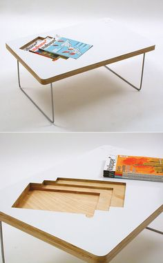 Now this is cool! What an innovative coffee table creation - handy spaces for magazine, perfect for coffee-time reading! Design by sara huston.
