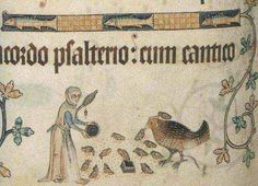 Woman carrying a distaff (under her arm) and drop spindle (hanging from the distaff) while feeding chickens. Luttrell Psalter, British Library, London.
