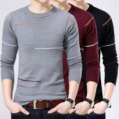 Cheap men thin sweaters, Buy Quality men sweater shirt directly from China knit shirt men Suppliers: Men thin sweater 2018 autumn Korean style sweater winter male o-neck long-sleeve slim plus size knitted basic shirt teenage boy Mens Winter Sweaters, Winter T Shirts, Men Sweater, Polo T Shirt Design, Men's V Neck Sweaters, Bodybuilding Clothing, Style Masculin, Stylish Mens Outfits, Mens Fashion Suits