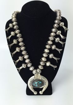 Squash Blossom Necklaces - Navajo Turquoise and Silver Squash Blossom Necklace with Sandcast Naja
