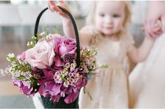 via StyleUnveiled.com / Radiant Orchid Wedding Inspiration and a Darling Flower Girl / Hello Love Photography