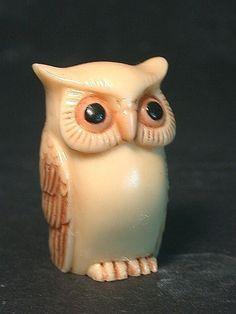 Vintage Japanese netsuke  Just another Country OWL BIRD by utamaro