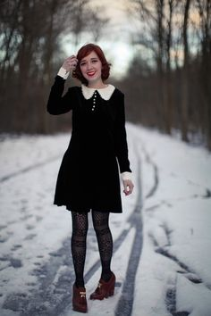 Black dress with collar and cuffs-The Clothes Horse