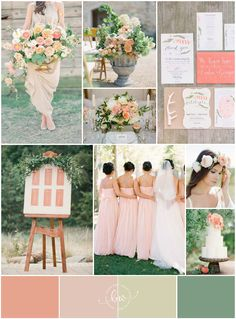 gorgeous peaches and green colour palette by @Bajan Wed