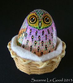 ORIGINAL Handpainted OWL PEBBLE in Basket by Suzanne Le Good