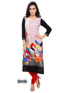 Refreshing Multi Coloured Rayon Printed Kurti