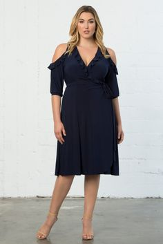 Show those shoulders and add a little feminine flounce to your wardrobe in our plus size Barcelona Wrap Dress. Shop our entire collection with fabulous made in the USA styles online at www.kiyonna.com.