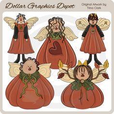 Autumn Angels 1 - Clip Art